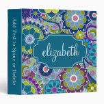 Funky Floral Pattern with Custom Name Binders
