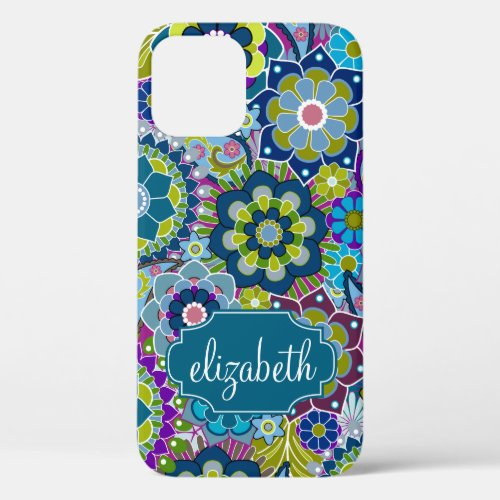 Funky Floral Pattern with Custom Name Phone Case