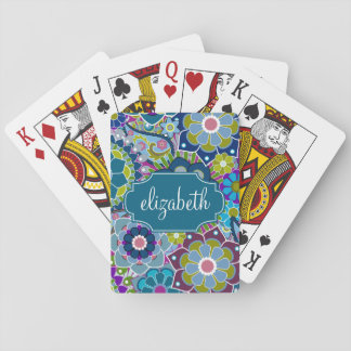 Funky Floral Pattern with Custom Name Deck Of Cards