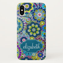 Funky Floral Pattern with Custom Name iPhone X Case