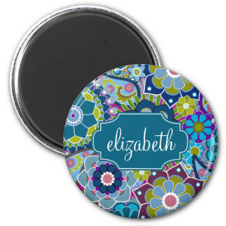 Funky Floral Pattern with Custom Name 2 Inch Round Magnet