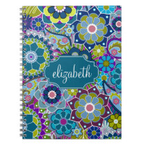 Funky Floral Pattern with Custom Name Notebook