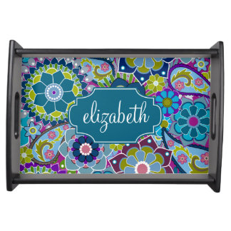 Funky Floral Pattern with Custom Name Food Trays