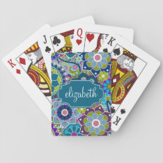 Funky Floral Pattern With Custom Name Playing Cards at Zazzle