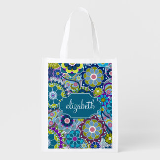 Funky Floral Pattern with Custom Name Reusable Grocery Bag