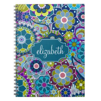 Funky Floral Pattern with Custom Name Spiral Notebook