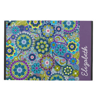 Funky Floral Pattern with Name aubergine green Case For iPad Air