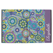 """Funky Floral Pattern with Name aubergine green iPad Pro 12.9"""" Case"""