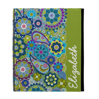 Funky Floral Pattern with Name iPad Folio Covers