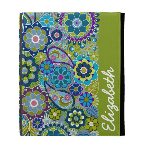 Funky Floral Pattern with Name iPad Case