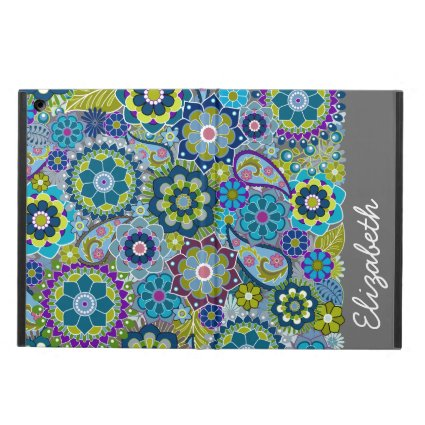 Funky Floral Pattern with Name iPad Air Cases