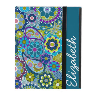 Funky Floral Pattern with Name iPad Cases