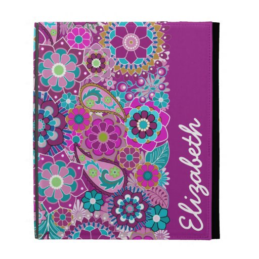 Funky Floral Pattern with Name - Pink Teal iPad Cases