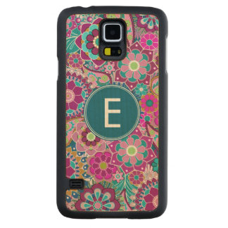 Funky Floral Pattern with Name Carved® Maple Galaxy S5 Case