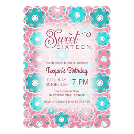 Funky floral pink and aqua sweet 16 (sixteen) invitation
