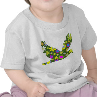 Funky Floral Retro Bird T-shirts