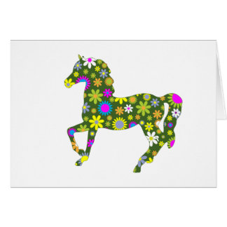 Funky floral retro flowers floral prancing horse card