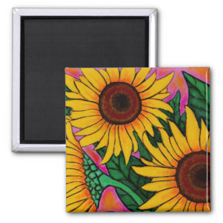 Funky Floral Sunflower Magnet