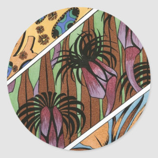 Funky Floral Tribal Print Classic Round Sticker