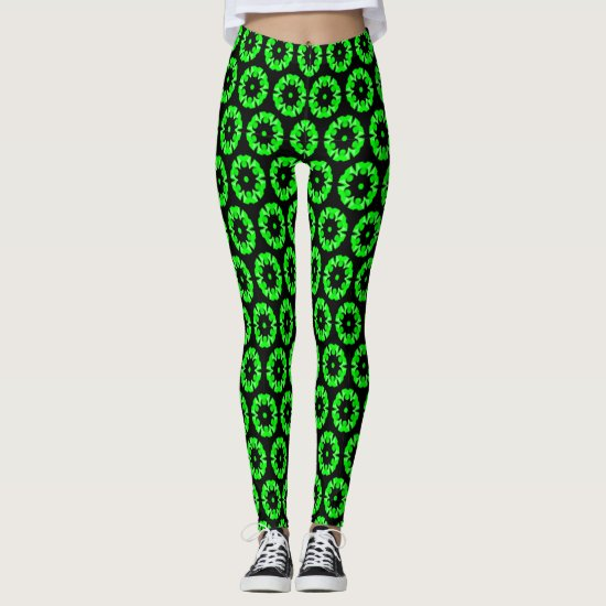 Funky Florets Pattern in Neon Green and Black Leggings