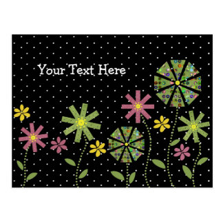 Funky flower border on black background with white postcard