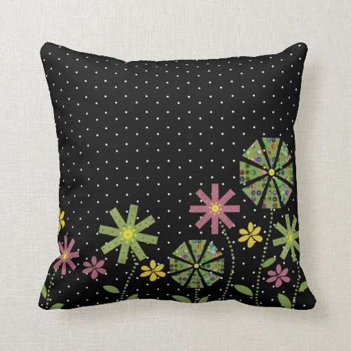 Funky flower border on black with white spots throw pillow Zazzle