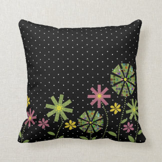 Funky flower border on black with white spots throw pillow