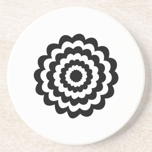 Funky Flower in Black and White. Beverage Coasters