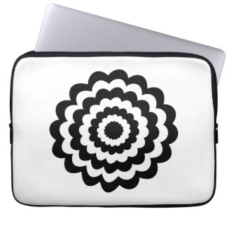 Funky Flower in Black and White. Laptop Computer Sleeves