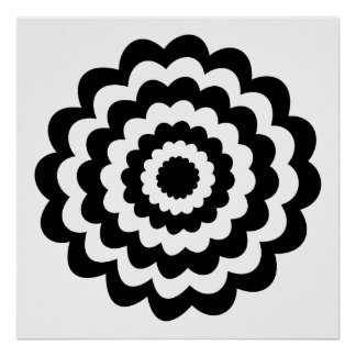 Funky Flower in Black and White. Poster