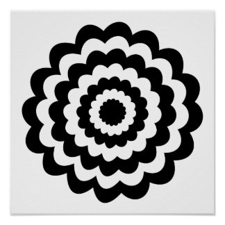 Funky Flower in Black and White. Print