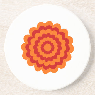 Funky Flower in Orange and Red. Coasters