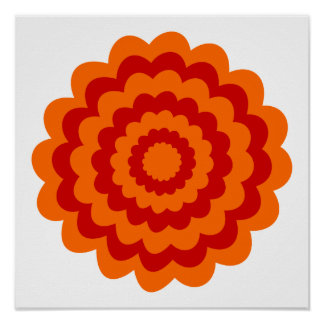 Funky Flower in Orange and Red. Poster