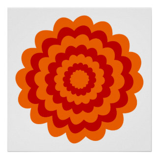 Funky Flower in Orange and Red. Posters