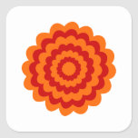 Funky Flower in Orange and Red. Square Sticker