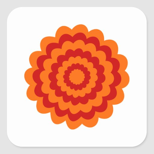 Funky Flower in Orange and Red. Square Stickers