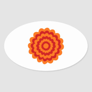 Funky Flower in Orange and Red. Oval Sticker