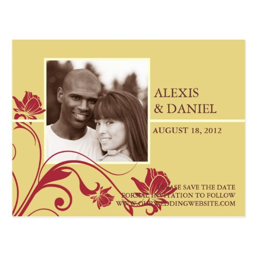 Funky Flower Photo Save the Date Postcard