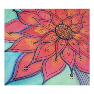 Funky Flower watercolor mixed media poster