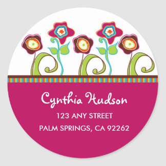 Funky Flowers Address Labels Classic Round Sticker