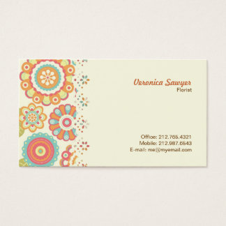 Funky Flowers (Cream) Lace Border Business Card