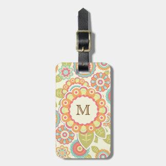 Funky Flowers (Cream) Monogram Bag Tag
