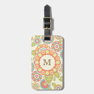 Funky Flowers (Cream) Monogram Tag For Luggage