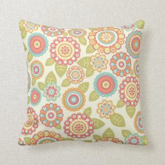 Funky Flowers (Cream) Throw Pillow