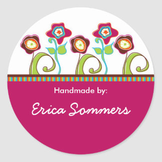 """Funky Flowers """"Handmade"""" Labels Classic Round Sticker"""