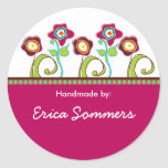 "Funky Flowers ""Handmade"" Labels Stickers"