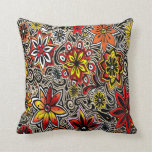 Funky Flowers in Red Throw Pillows