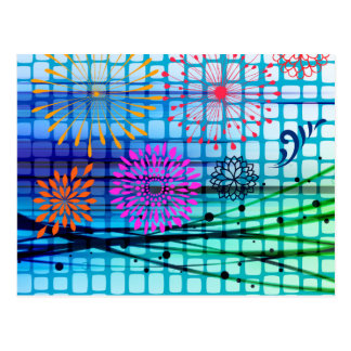 Funky Flowers Light Rays Abstract Design Postcard