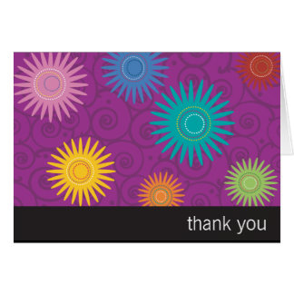 Funky Flowers on Purple Thank You Card