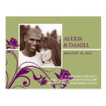 Funky Flowers Photo Save the Date Postcard